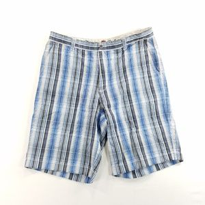 Tommy Bahama Plaid Casual Shorts Silk Cotton Blend